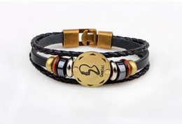Wholesale Libra Chain - High Quality Leather Bracelet 12 Constellation Bracelet Libra Constellation Pulseras Women Leather Bracelet Gifts Brand Design