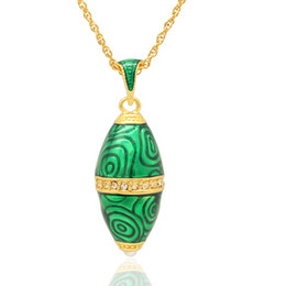 Wholesale Eggs Bullets - Hand crafted Enamel crystal paved bullet shape pendant Faberge Egg Russian Egg charm Necklace for Easter day