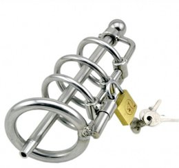 Wholesale Men Lockable Cage - M109new male bondage lockable stainless steel cock cage with Catheters & Sounds penis ring cage,black dildo cage rings, sex toys for men