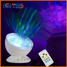 Wholesale Ocean Bedroom Lighting - Newest Remote Control Ocean Wave Projector Rotating Night light Music Player TF Card Night Lamp For Kids Bedroom Living Room