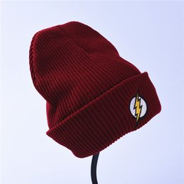 Wholesale Flash Beanies - Winter Hat Beanies Skullies Knitted Hat Flash Hero Barry Allen Lightning Embroid Knitting Winter Hat Warm Hip-Hop Cap Christmas Gift