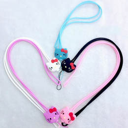 Wholesale Wristlet Cartoons - Cartoon Hello Kitty Silicone Long Straps Detachable Sling Hook Lanyard Wrist Straps Charms Keychain Wristlet for Mobile Phone USB Keys