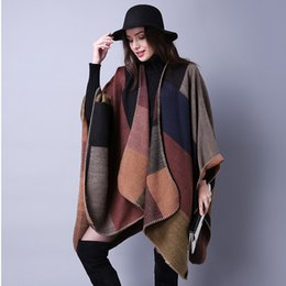 Wholesale Gray Plaid Scarf - Wholesale- 2016 Autumn and winter Shawl New Women Grid Wild Travel Shawl Imitation Cashmere Split Thicken Cloak Scarf AXD1771