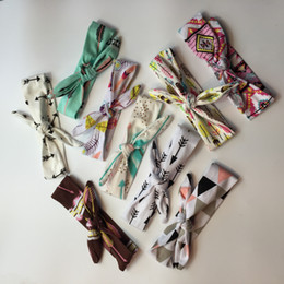 Wholesale Scarves Girls Baby Bow - Bohemian Lovely Girls Bunny Ear Headband Scarf Brozing Hair Band Cotton Bow Elastic Knot Headband Bandanas Rabbit baby hair accessories