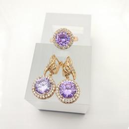 Wholesale White Jade Earrings 925 Silver - AAA Zircon Jewelry Sets 925 Silver purple Earrings Rings Size 7 8 9 For Women Free Jewelry A0032