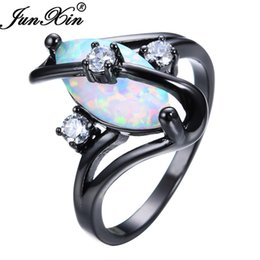 Wholesale Gorgeous Opal - JUNXIN Gorgeous Rainbow Fire Opal Rings For Women Men Black Gold Filled Wedding Party Engagement Promise Ring Christmas Gift