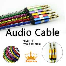 Wholesale Ipad Iphone Vga - Braided 3.5mm Male to Male Audio Stereo Car AUX Cable Cord for iPhone iPod iPad MP3 MP4