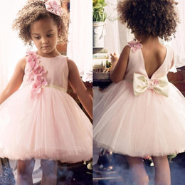 Wholesale Tulle Dresses For Little Bridesmaids - 2017 Cute Flower Girl Dresses for Wedding Little Girls With Bow Handmade 3D Flowers Junior Bridesmaid Dress for Teens Formal Party Wear
