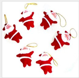 Wholesale Tree Doll Ornaments - Christmas tree ornaments Santa Claus CHRISMAS Tree Decorations Hanging Ornaments red tiny santa dolls free shipping