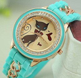 Wholesale Excellent Ladies Watches - Excellent Quality Fashion Silicone Crystal Cat Wristwatches Steel Chain Band Analog Ladies Diamond Women Quartz Style Watch