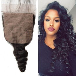 Wholesale H Closure - Free Shipping 4''x4'' (H L) Loose Wave Top Grade Brazilian Virgin Hair Silk Base Top Closure G-EASY