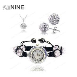 Wholesale Disco Pave Watch - Watch Sets Necklace+Bracelet+Earrings Crystal Jewelry Watch Sets 10mm Micro Pave Disco Beads Crystal Jewelry Sets SHSE11