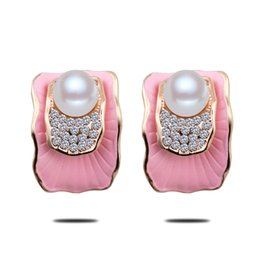 Wholesale Lotus America - 2016 Korea fashion jewelry for women Europe and America set crystal pearl lotus leaf stud earrings brincos grandes fashion pera mulheres