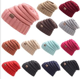 Wholesale Wholesale Skully Hats - Womens Girls Thick Cap Hat Skully Unisex Slouch Knitted Beanie Adult knitted hat wool hat fashion Outdoor Warm cap KKA2845