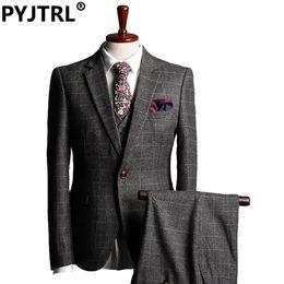Wholesale Modern Jacket Men - Wholesale- (Jacket+Pants+vest) Italy Men Suits Modern Bridegroom Groom Wedding Suit Three-piece Classic Plaid Business Formal Slim Fit Suit