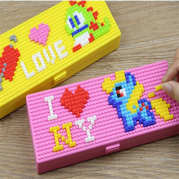 Wholesale Toys For Schools - Toy Bricks Stationery Box Pencil Cases for Children Boys Girls Creative Building Block School Stationery Holder For Kids Promotional Gifts