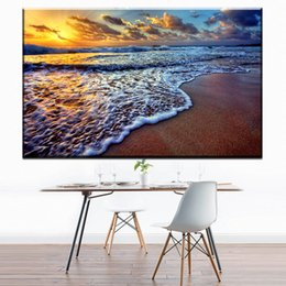 Wholesale Landscape Ocean Oil Painting - ZZ1681 modern decorative canvas prints art beautiful ocean sunset with sand landscape canvas pictures oil art painting unframed