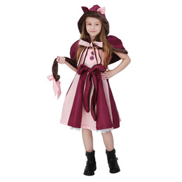 Wholesale Cheshire Cat Cosplay - Cheshire cat Cosplay Fancy Lolita Dress Hot Alice in Wonderland Costume for Girls Party Child Performance Alice Clothes Purple PS049