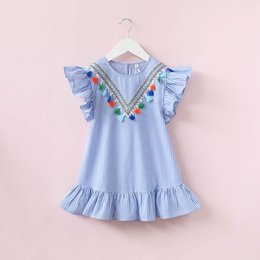 Wholesale Chinese Summer Clothes - Girls stripe Kids Baby Girls Summer Dresses, Infant Outfits Tassels Bohemia Party Tutu clothing, 1BC506DS-58R, ElevenStory_dh