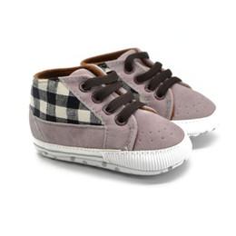 Wholesale Infant Shoe Laces - Wholesale- Toddler Infant Baby Boy Shoes Laces Casual Sneaker PU Plaid Soft Sole Crib Shoes