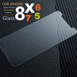 Wholesale Glass Screen For Cell Phone - Cell Phone Screen Protector For iPhone x 8 plus Tempered Glass 9H Hard mobile phone Case For iPhone8 Protective Glass Cover Film iphone7