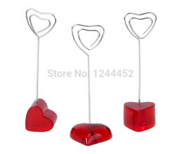 Wholesale Wedding Card Pictures - Wholesale- 1 PCS Red Love Sweety Heart Base Card Picture Memo Photo Clips Holder For wedding party Decoration gift