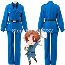 Wholesale Costume Hetalia - Wholesale-APH Axis Powers Hetalia North Italy Feliciano Vargas Uniform Outfit Cosplay Costume Coat+Shirt+Pants+Belt+Tie