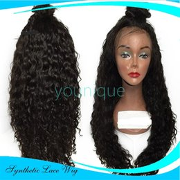 Wholesale crocheted wigs - 2017 New Fashionable Front Lace Women Natural Color Black Wigs Body Wave Semi-Crochet Brazilian Human Hair Wig