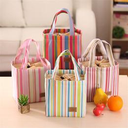 Wholesale Handbags Korea Wholesale - 2017 New korea fashion colours strip flap portable food bags drawstring bags totes handbags women free shipping