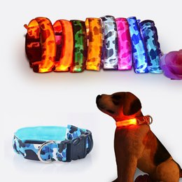 Wholesale Dog Flexible - Camouflage flexible length 35-60cm LED lamp Dog collars with 7 colors strip light style flash light led dog leash for pet dog cat