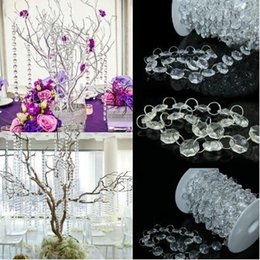 Wholesale Hanging Glass Curtains - Wholesale-10 Meters 33 Ft Crystal Clear Glass Octagonal Bead Garland Strands Curtains Christmas Hanging Wedding Decor Trees Centerpiece