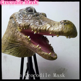 Wholesale Crocodile Halloween Mask - Crocodile Mask Creepy Animal Halloween Costume Theater Prop Novelty Latex Rubber Crocodile Head Mask Theater Prop Latex Rubber free shipping