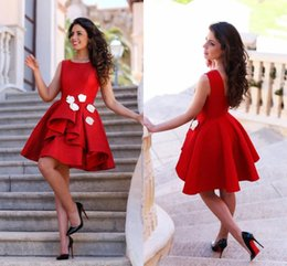 Wholesale Black Layered Tulle Prom Dress - Little Red Short Cocktail Dresses 2016 Junior Homecoming Dresses Jewel Neck Layered with Hand Made Flowers Arabic Prom Party Gowns BA2945