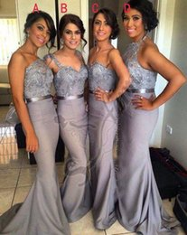 Wholesale Long Different Style Bridesmaid Dresses - Cheap Sliver Bridesmaid Dresses Different Styles Mermaid Beading Sequins Long Maid Of Honor Dresses Under $100