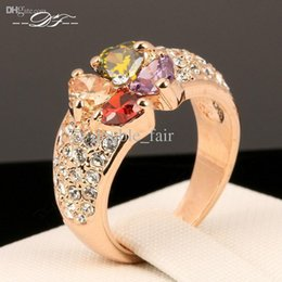 Wholesale Clover Rings For Women - Luxury Multicolor Clover Imitation Crystal Vintage Finger Rings 18K Gold Plated Fashion Brand CZ Diamond Jewelry For Women DFR209