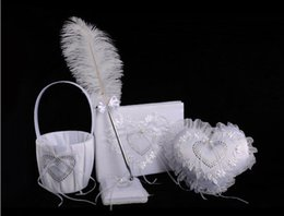 Wholesale Guest Basket - Hot sell western wedding products 4 sets of creativering pillow + sign book + feather pen + flower basket