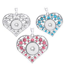Wholesale Color Value - Best Value 3 Color NOOSA Pendants Heart Metal Ginger Pendants With Rhinestone Crystal Fit 18mm Snap Button Trendy Jewelry E761L