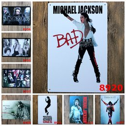Wholesale Posters Coffee - 2016 20*30cmMichael Jackson superstars king of rock retro poster Tin Sign Coffee Shop Bar Restaurant Wall Art decoration Bar Metal Paintings
