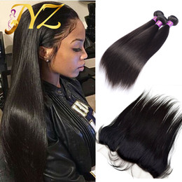 """Wholesale Cheap Remy Bundles - Cheap Human Hair Weave With Lace Frontal 13*4"""" Unprocessed Brazilian Straight Virgin Hair Ear To Ear Lace Frontal Closure Bundles"""