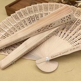Wholesale Personalized Umbrellas - 2018 DHL Free shipping in bulk 100pcs lot personalized wood wedding favours fan party giveaways sandalwood folding hand fans
