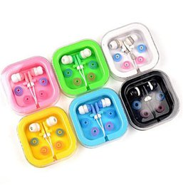 Wholesale Universal Earpiece - Candy Color Wired In-ear Earphone 3.5mm Headphone Universal Earpiece Earbuds With Retail Box For iphone 6 sansung S8 S7 huawei xiaomi