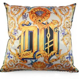 Wholesale flower pillow pattern - Cotton Linen Pillowcase Golden Baroque Flowers Pattern Cushion Sofa Bolster Classical Durable Printed Pillow Case Home Decor 6 5bha R