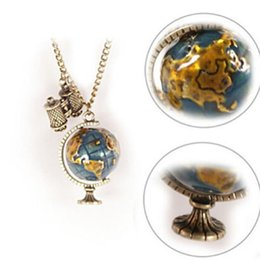 Wholesale Earth Globe Necklace - Vintage Globe Earth Telescope Tellurion Enamel Pendant Necklace Chain Gift C00416