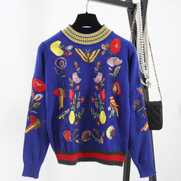 Wholesale Sweaters Butterfly - Free Shipping 2016 Autumn Black Blue Flowers Bird Butterfly Embroidery High End Long Sleeves Women's Sweaters Pullovers 1020