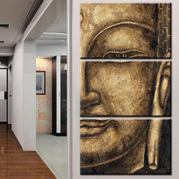 Wholesale Original Oil Painting Framed - The original High Quality HD Group Oil Painting 3 Panel Wall Art Religion Buddha Oil Painting On Canvas NO Framed wall picture