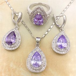 Wholesale Coral Wedding Ring - Vintage Purple CZ Diamond 925 Sterling Silver Jewelry Necklace Earring Rings Set Rhinestone Made with Austrian Crystals