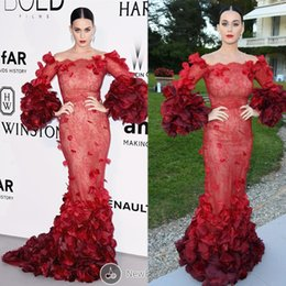 Wholesale Katy Perry Evening Dresses - Katy Perry Wine Red 2016 Cannes Festive Celebrity Dresses Scoop Neckline Wine Red Lace Mermaid Long Red Carpet Dresses Evening Gowns