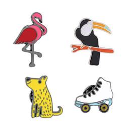 Wholesale Flamingo Jewelry - Flamingo Dog Bird Ice Skates Metal Brooches Gun Black Plated Brooch Pins Badge Fashion Jewelry Business Suit Handbags Accessories Gift