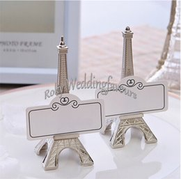 Wholesale Eiffel Tower Place Card Holders - FREE SHIPPING 20PCS Romantic Paris Themed Eiffel Tower Silver Finish Place Card Holder Photo Clip Wedding Table Decorations