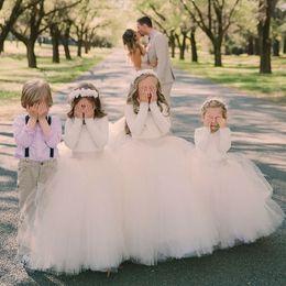 Wholesale Long Sleeve T Shirts Junior - 2017 Ball Gown Flower Girls Dresses For Weddings Long Sleeves Tulle Floor Length Fall Little Girls Wedding Dresses Junior Bridesmaid Dresses